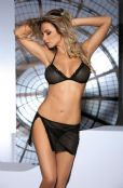 'Avanua Lingerie' Milady Black Mesh Bra & Skirt Lingerie Set ( UK 14 - 20 )